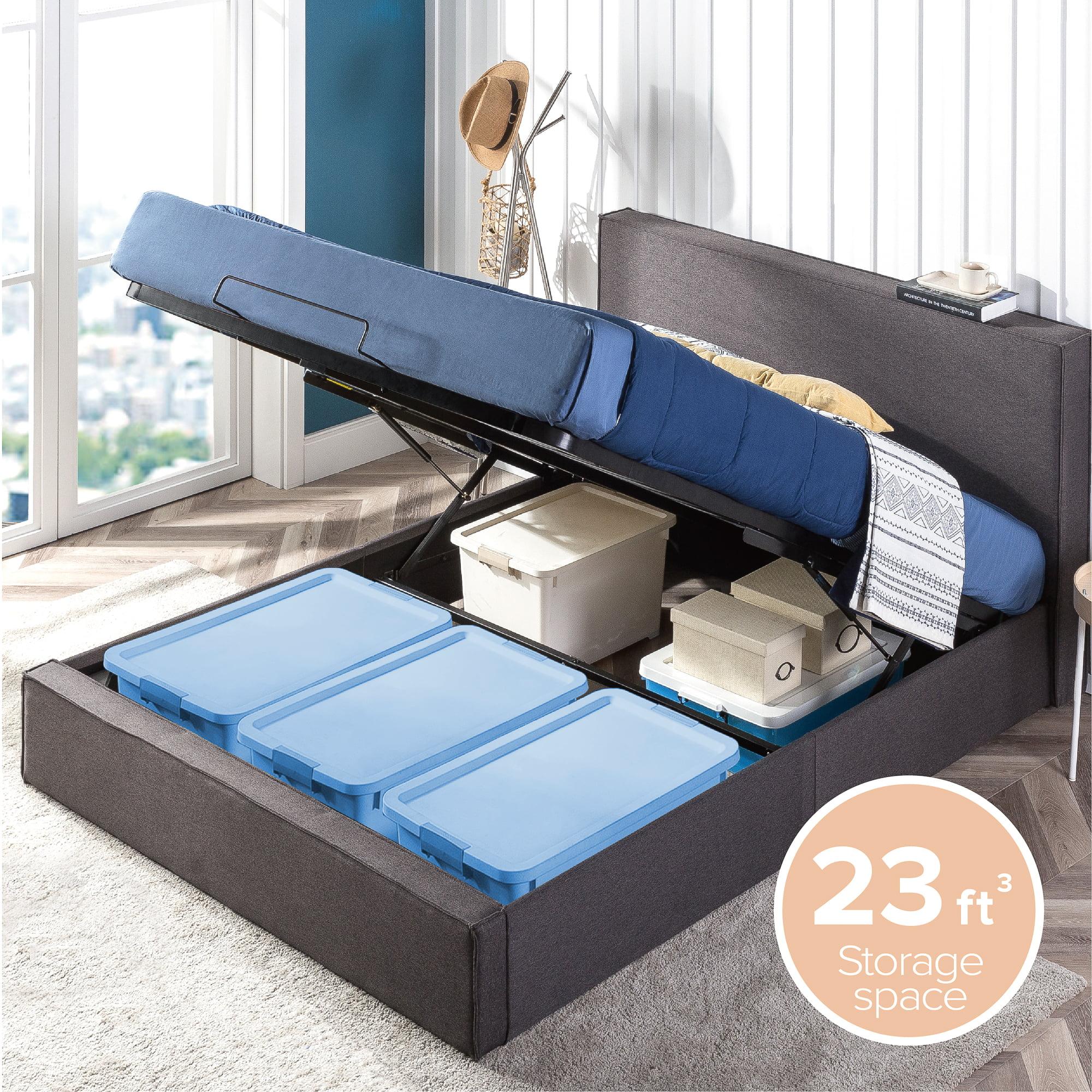 Upholstered Platform Bed Frame With, Platform Bed Frame With Storage Queen