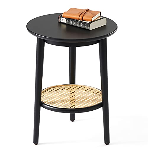 Harmati Round Side Table With, Round End Tables With Storage For Living Room