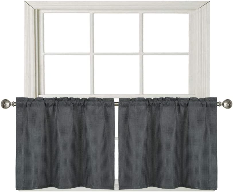 Home Queen Waffle Tier Curtains For, Bathroom Window Valances