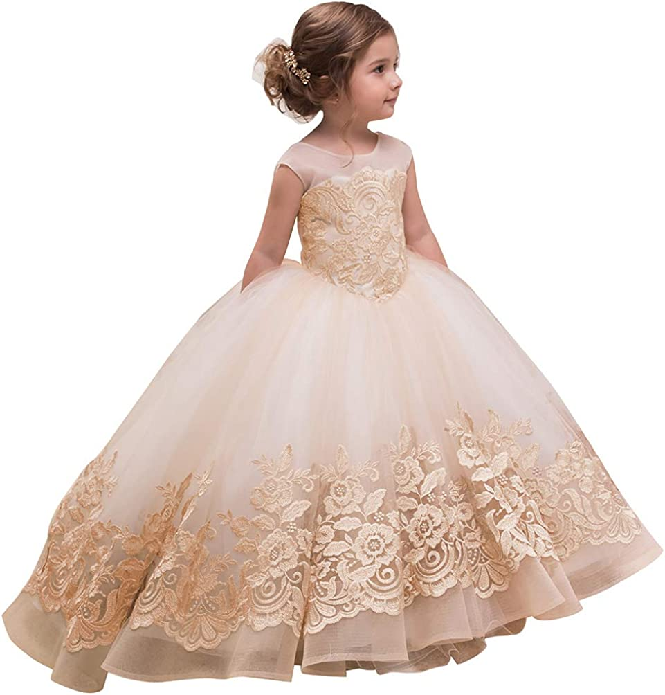 ABAO SISTER Elegant Flower Girl Dress for Wedding Kids Sleevelesss Lace  Pageant Ball Gowns