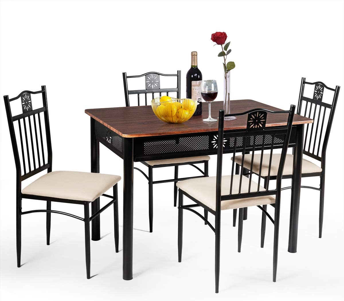 Buy TANGKULA 9 Piece Dining Table and Chairs Set Vintage Retro ...