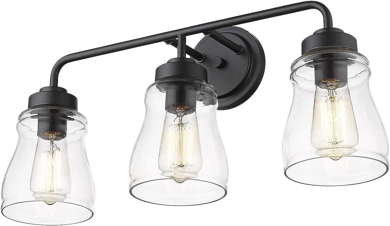 Caldion 3 Lights Black Vanity Light, Modern Bathroom Light Fixtures Black And White