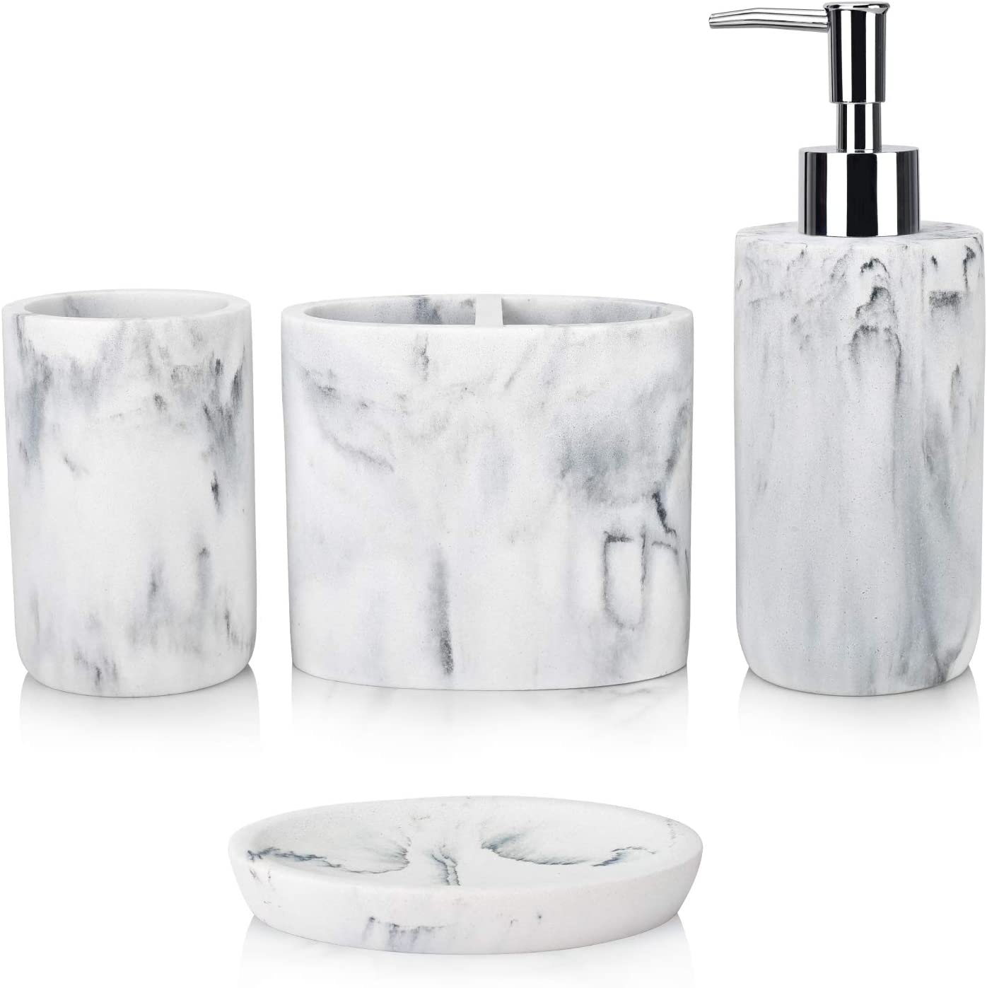 Soap Dispenser Tumbler Dish, Marble Bathroom Accessories Sets