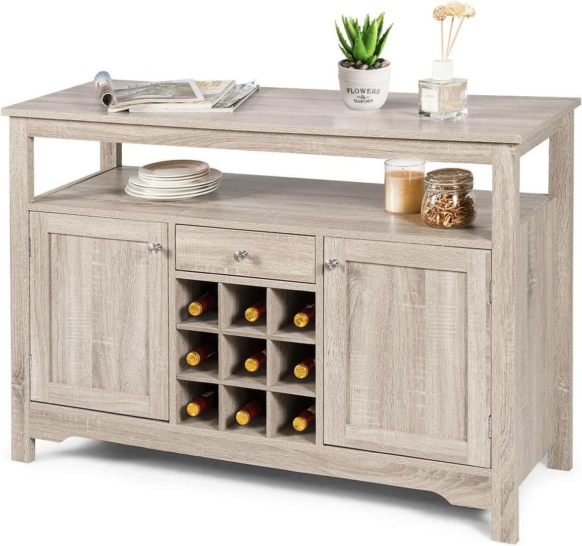 Giantex Buffet Server Sideboard, Dining Room Buffet Table With Wine Rack