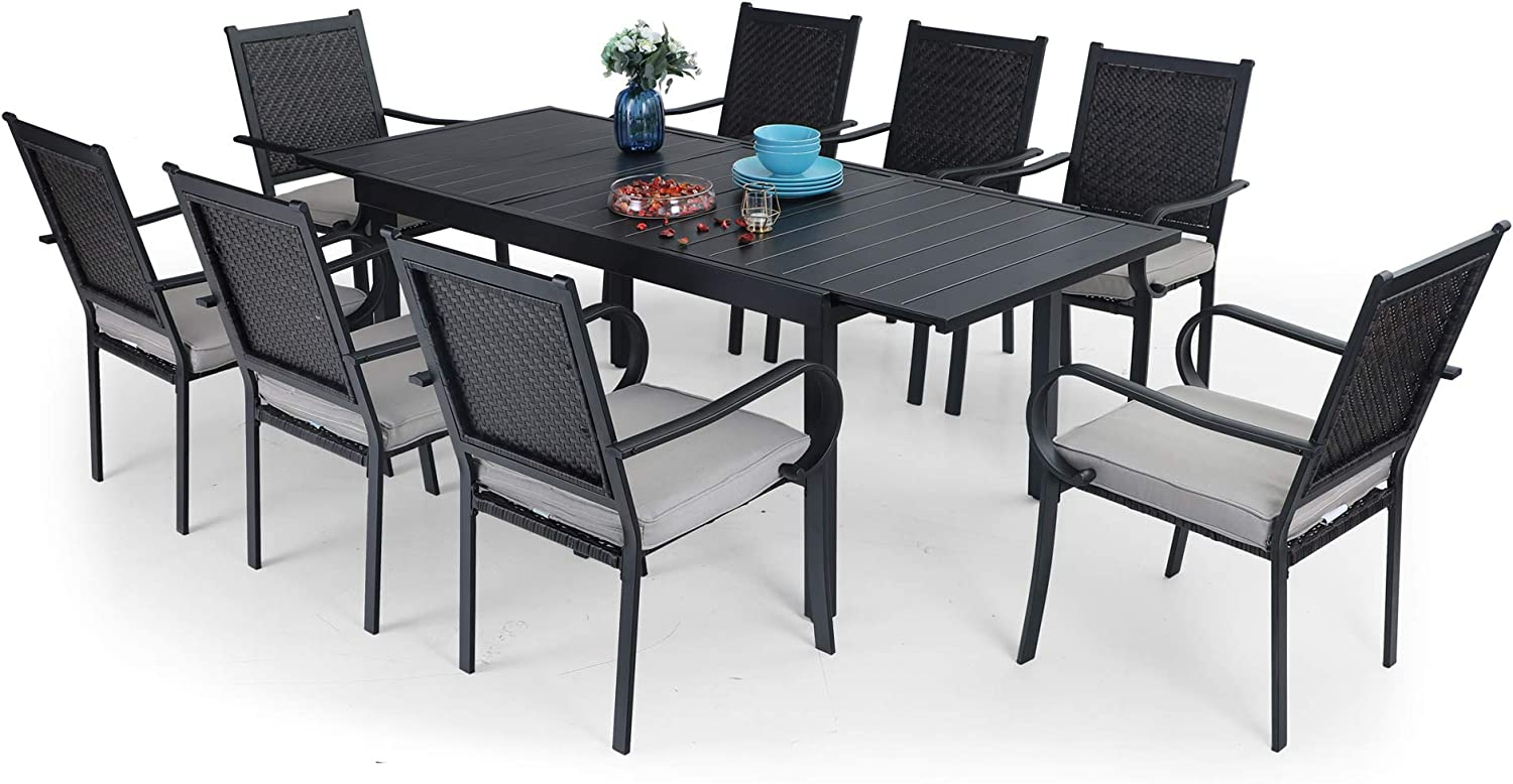 PHI VILLA 9 Piece Outdoor Dining Table Set for 9, Expandable Rectangular  Metal Dining Table & 9 Rattan Chairs for Patio, Deck, Yard