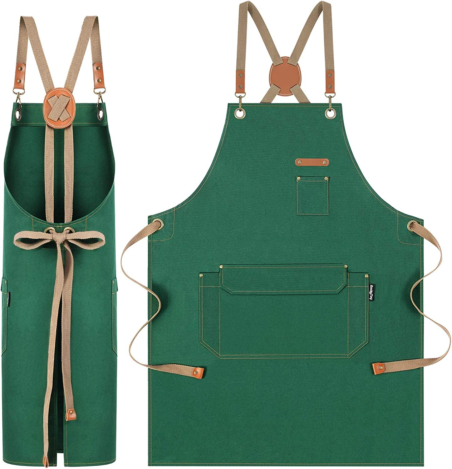 Buy RockyToy Chef Apron with Cross Back Straps for Men Women ...