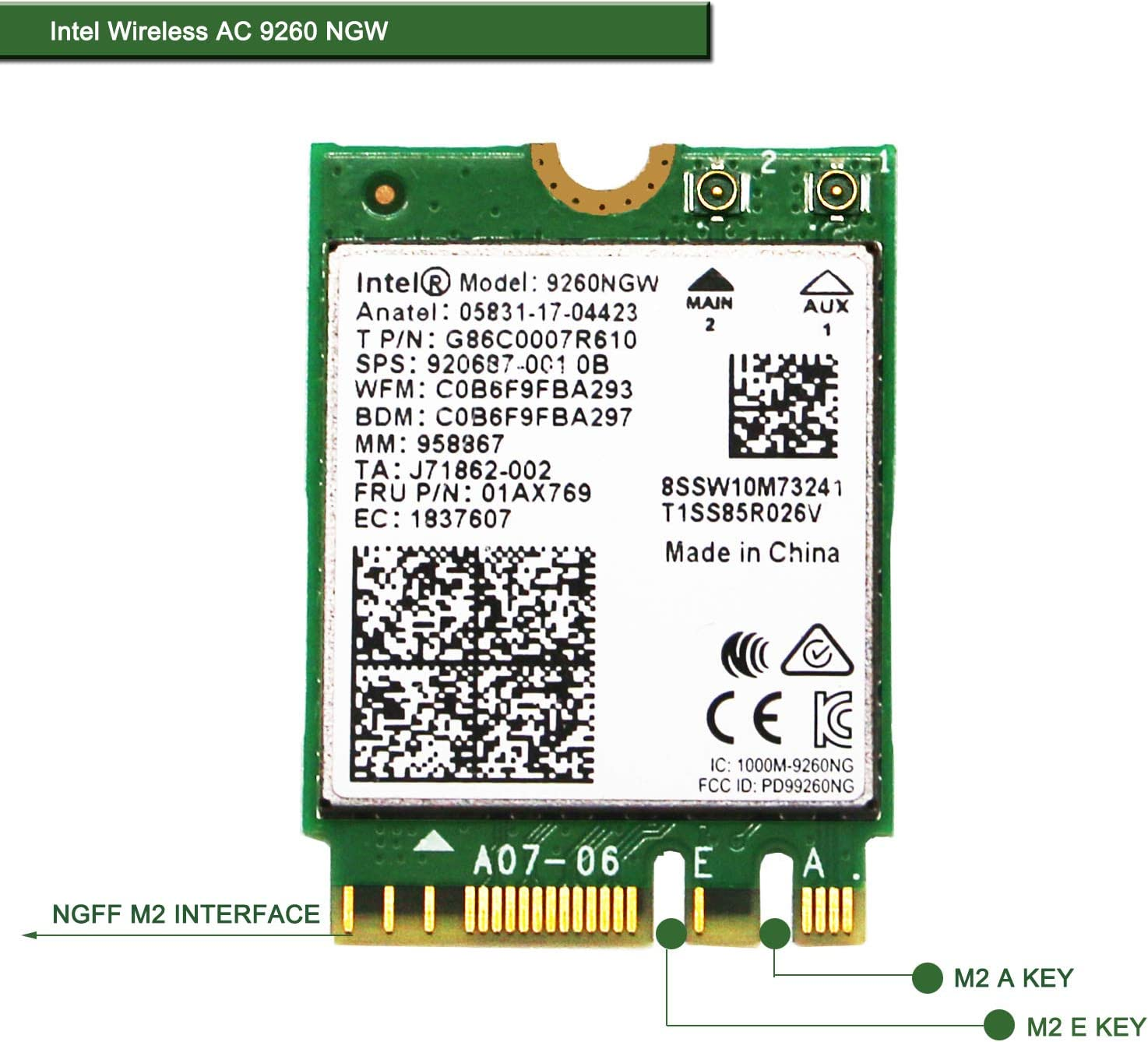 Buy Wireless Network Adapter for Laptop and Desktop PCs–NGFF M2 2230 Wi-Fi  Card-2.4GHz 300Mbps or 5GHz 1733Mbps(160MHz) Bluetooth 5.0-Dual Band  Wireless Bluetooth Adapter Intel Wireless-AC 9260 NGW Online in Vietnam.  B07FMKHKQY