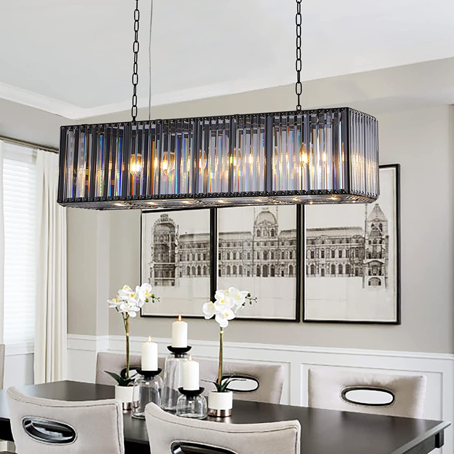Modern Crystal Rectangle Chandelier, Contemporary Dining Room Ceiling Light Fixtures