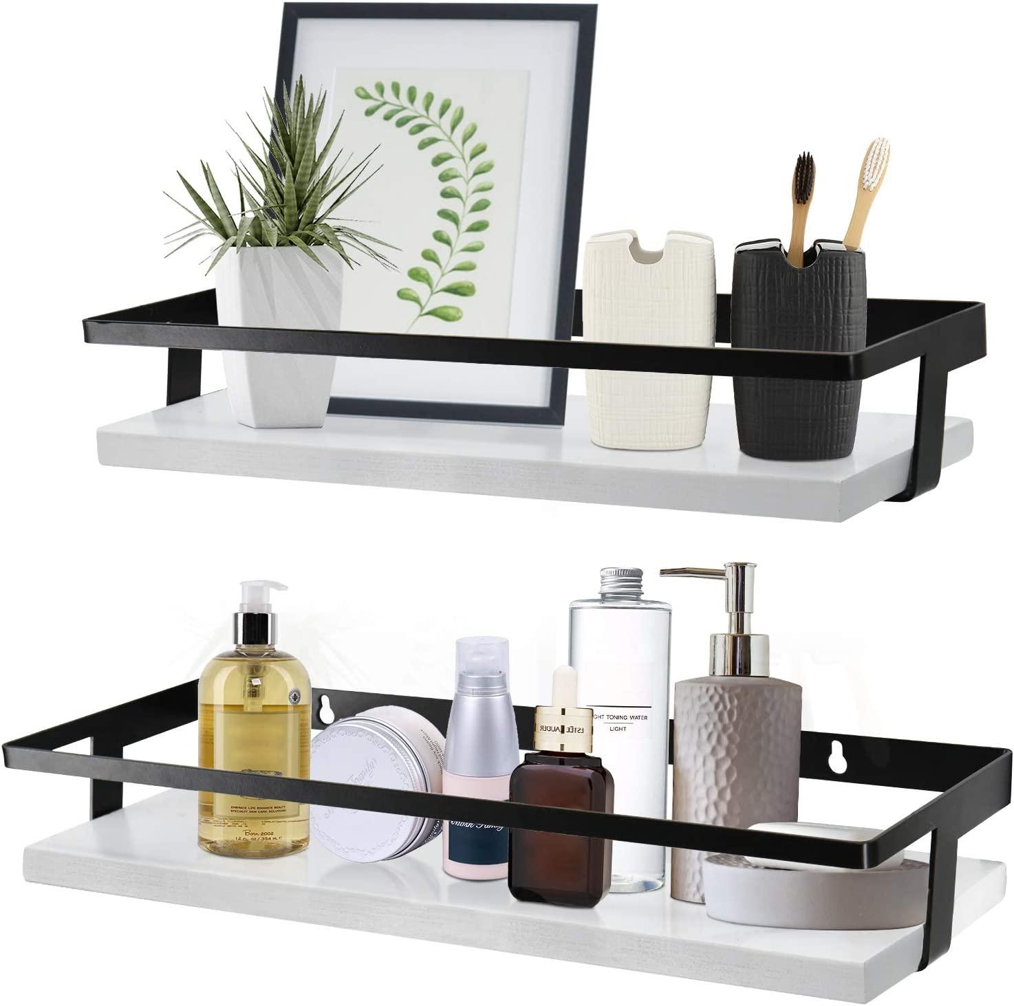 White Bathroom Floating Shelves Set, Decorative Glass Shelves Bathroom