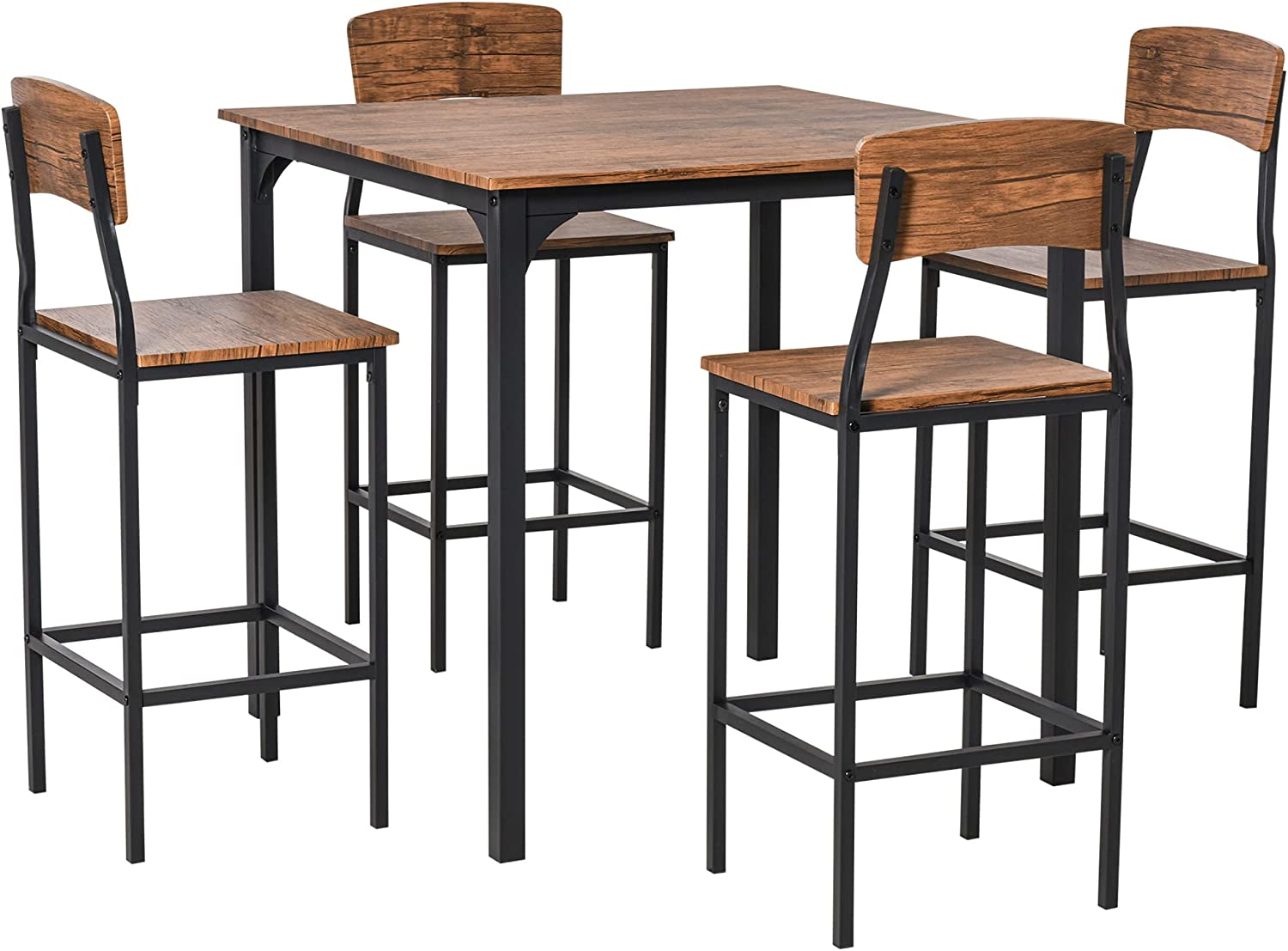 Homcom 5 Pc Modern Counter Height, Counter Height Kitchen Table And Chairs Set
