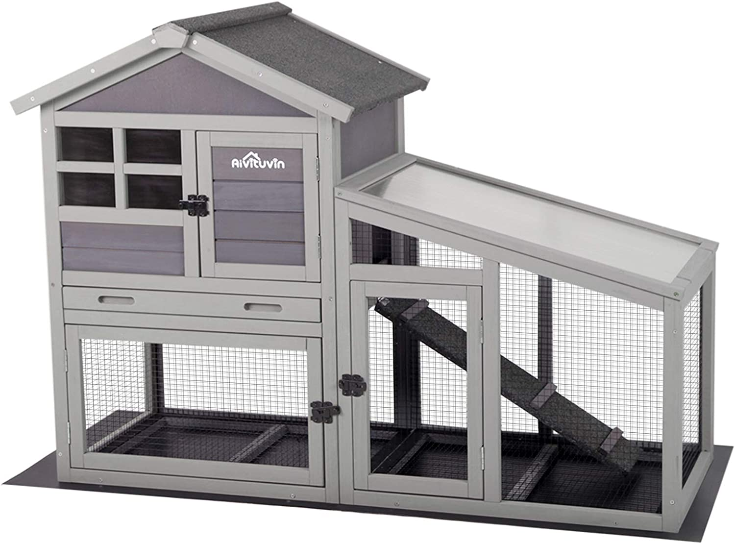 Aivituvin Rabbit Hutch Indoor and Outdoor,Rabbit cage with Deeper No  LeakageTray, Bunny Cage with Removable Bottom Wire Mesh & PVC Layer,  Upgrade ...