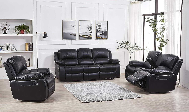 Set Sofa Loveseat Chair 8018 Black, Black Living Room Set