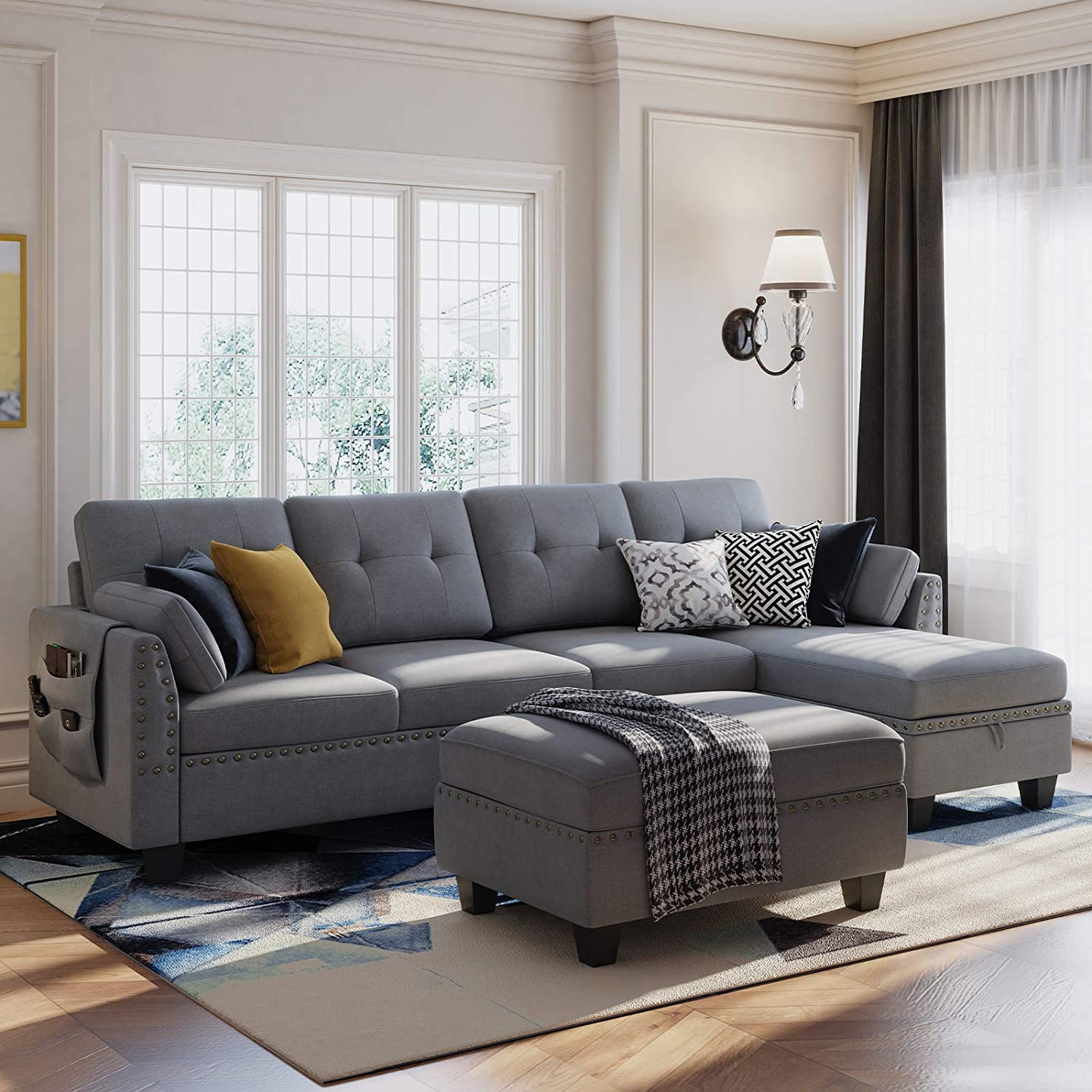 Honbay Reversible Sectional Sofa, Grey Couch Living Room