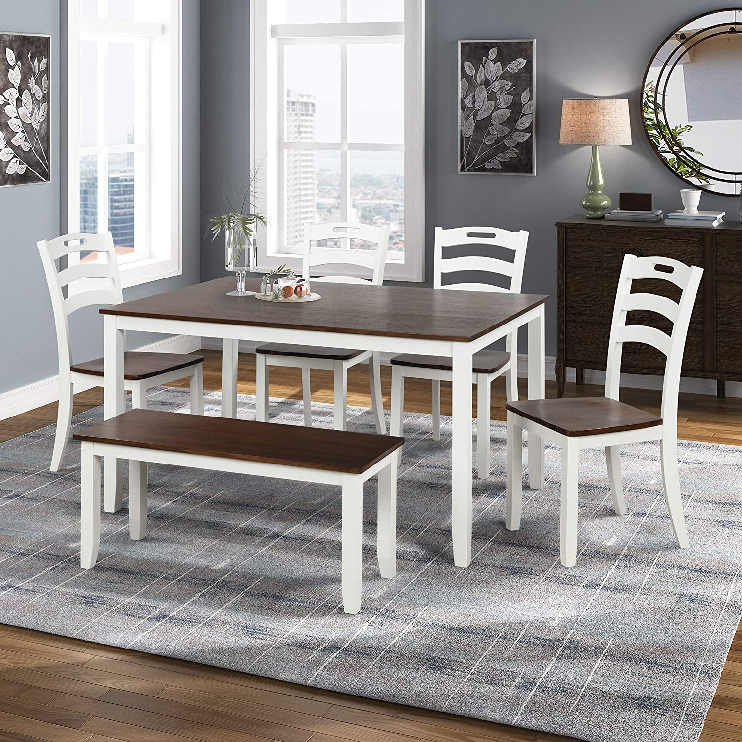 Merax Dining Table Sets 6 Piece, Dining Room Sets For 6